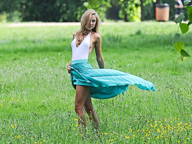June 5 - Kimberley Garner seen on a photo shoot with photographer Fenton Bailey in Hyde Park