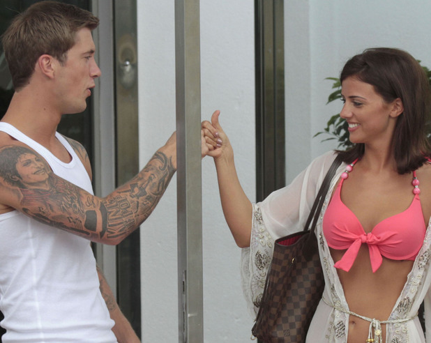 Lucy Mecklenburgh and Dan Osbourne flirting in Marbella, 28th May 2013. REVEAL USE ONLY.