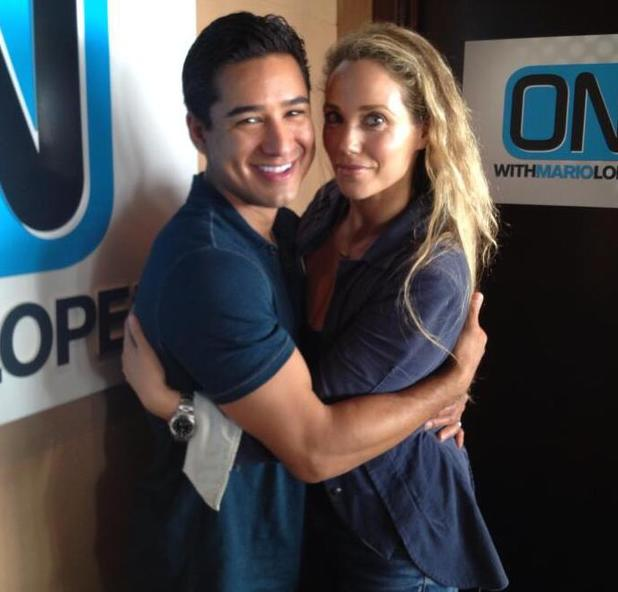Mario Lopez and Elizabeth Berkley pose together backstage at On With Mario - 7 June 2013