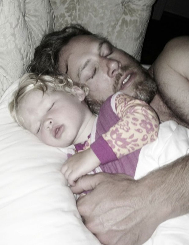 Eric Johnson and baby Maxwell in a Twitter picture shared by Jessica Simpson, 5 June 2013