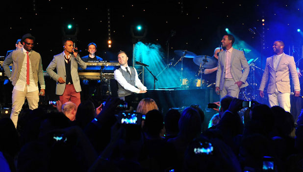 Gary Barlow and JLS on stage at the OJAM, JLS Foundation Ball, 6 June 2013