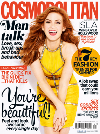 Isla Fisher poses for Cosmopolitan July 2013 issue
