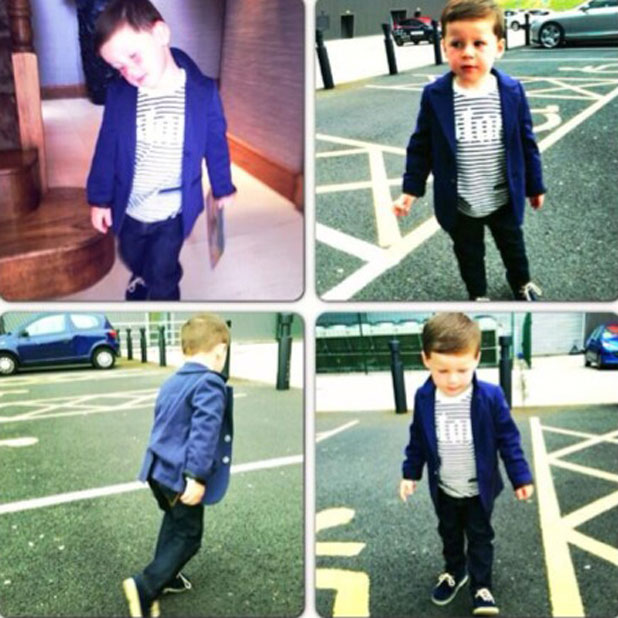 Coleen Rooney shares a photo of 3-year-old Kai modelling clothes from her Littlewoods range, 4 June 2013