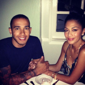 Nicole Scherzinger and Lewis Hamilton in a Twitter picture, 4 June 2013