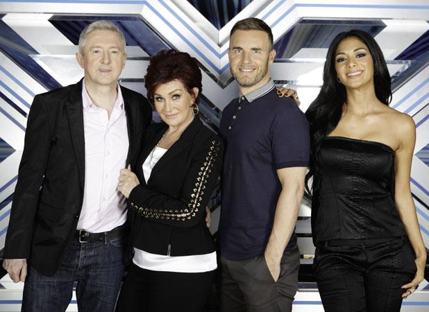 X Factor judges in Glasgow: Louis Walsh, Sharon Osbourne, Gary Barlow and Nicole Scherzinger, 5 June 2013