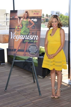Let Veganism Grow on You' PETA campaign launch, Los Angeles, America - 10 Jun 2013 Tia Mowry-Hardrict