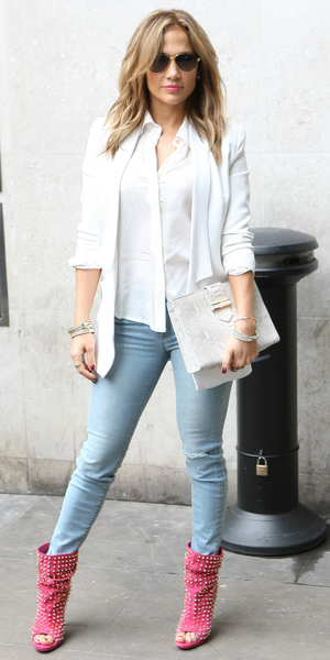 Jennifer Lopez arrives at BBC Radio 1 to appear on the Scott Mills show as part of her UK promotional visit