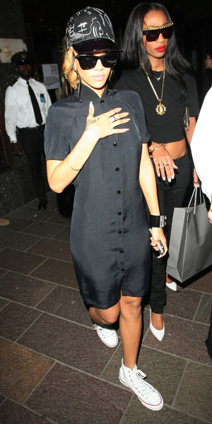 Rihanna arrives back at her London hotel after a 4 hour shopping trip at Harrods, June 14 2013