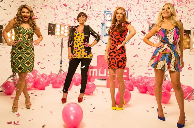 The Saturdays pose for Chasing The Saturdays 4Music launch - 12 June 2013