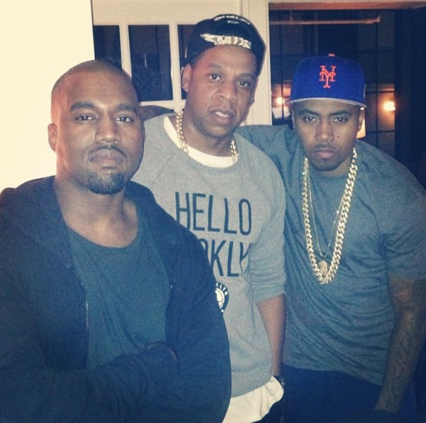 Kanye West, Jay-Z  and Nas at Kanye West's birthday party - 8 June 2013