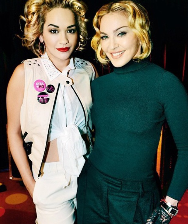 Rita Ora and Madonna pose, as Rita is named face of Material Girl fashion brand