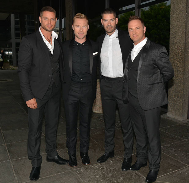 Boyzone at RTE studios to pre-record Gay Byrne's 'One Night Only' to celebrate their 20th anniversary Person In Image: Keith Duffy, Ronan Keating, Shane Lynch, Mikey Graham Credit :	WENN.com