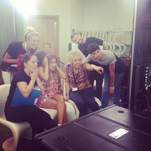 Caroline Flack backstage on the XFactor auditions set with Xtra Factor co-host Matt Richardson