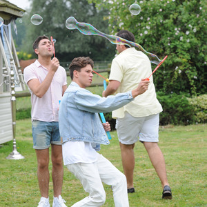 Joey Essex, Tom Pearce and James 'Arg' Argent on the set of TOWIE, June 21 2013