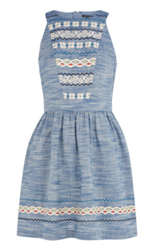 Warehouse Totem Embroidered Dress, £55