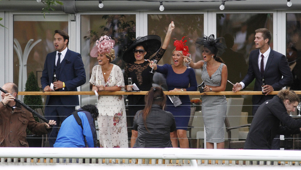 The Only Way Is Essex stars Dan Osborne, James Lock, Sam Faiers, Billie Faiers, Jess Wright and Lucy Mecklenburgh filming at Newmarket racecourse, June 22 2013