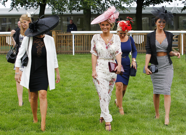 The Only Way Is Essex stars Sam Faiers, Billie Faiers, Jess Wright and Lucy Mecklenburgh filming at Newmarket racecourse, June 22 2013