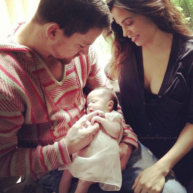 Channing Tatum and Jenna Dewan-Tatum hold daughter Everly on Father's Day, 16 June 2013