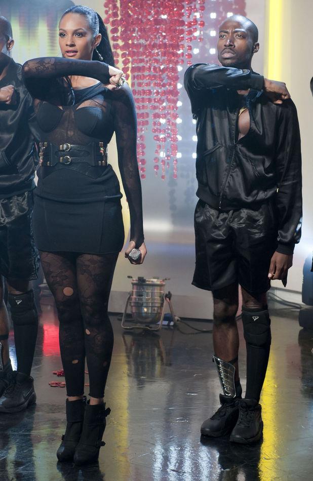 Alesha Dixon performs on 'This Morning' TV Programme (06 Sep 2010) with backing dancer Azuka Ononye.