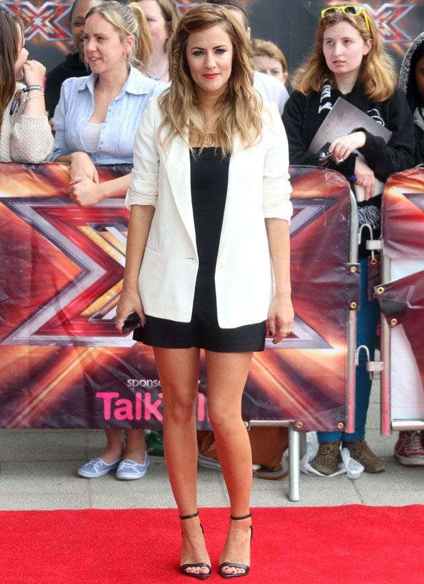 Caroline Flack, red carpet arrivals for The X Factor at London Excel, 19 June 2013