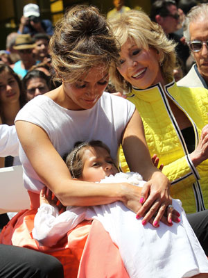 Jennifer Lopez with daughter Emme and Jane Fonda as she is honoured with the 2,500th star on the Hollywood Walk of Fame, 20 June 2013