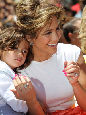 Jennifer Lopez with son Max as she is honoured with the 2,500th star on the Hollywood Walk of Fame, 20 June 2013