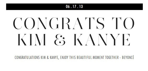 Beyonce sends message of congratulations to Kim Kardashian and Kanye West following birth of child, 17 June 2013