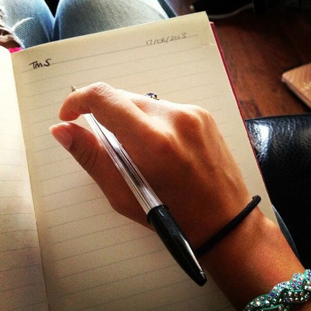 Little Mix write song lyrics for new album, Twitter picture, 20 June 2013