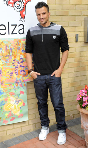 Peter Andre and Karen Millen visit a hospice ahead of next month's festival Music On The Hill, raising funds for Demelza Hospice Care For Children, 17 June 2013