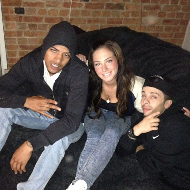 Tulisa poses with N-Dubz after her arrest, 18 June 2013