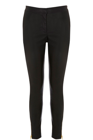 Skinny black faux-leather trousers from Warehouse