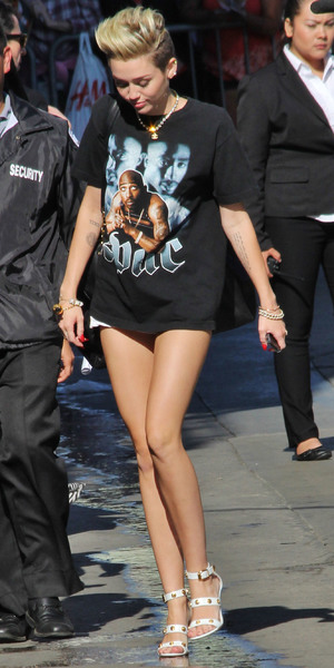 Miley Cyrus, Celebrities outside ABC's 'Jimmy Kimmel Live!' studios, Hollywood. 25 June 2013