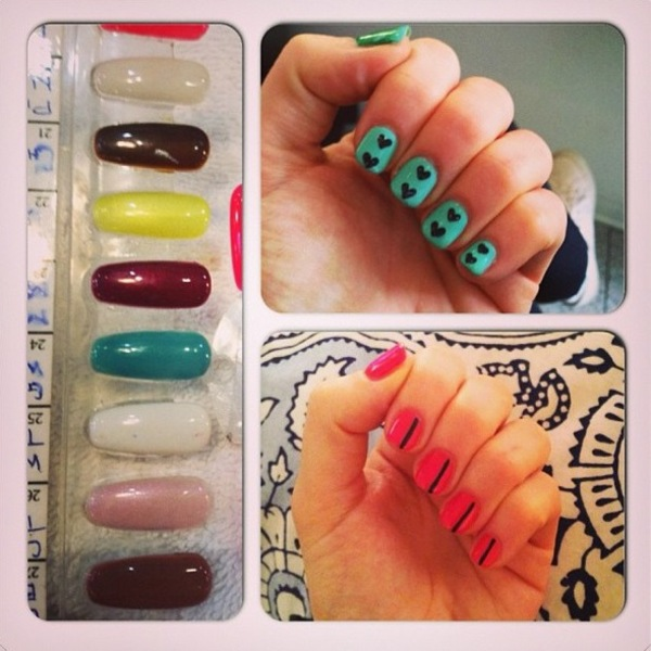 Cherry Healey shared this twitter picture of the heart manicure she had done in LA - 25th June 2013