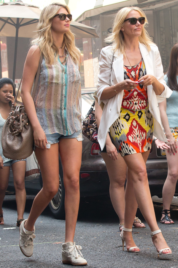 Kate Upton and Cameron Diaz on the set of The Other Woman in Chinatown, New York - USA 24th June 2013