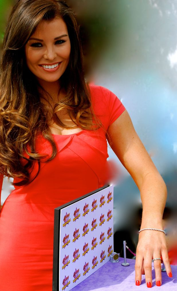 Jessica Wright shows off nails walking down Foxy Bingo's Mani Cam on set of The Only Way is Essex, 23 June 2013