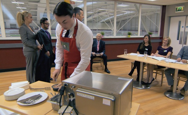 Alex Mills interrupts ready meal task on The Apprentice - 24 June 2013