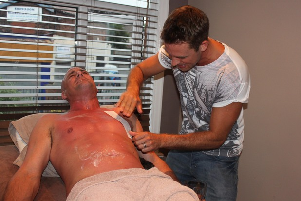 Hollyoaks' Nick Pickard gets his body hair removed for Tony Hutchinson cancer storyline - 27 June 2013
