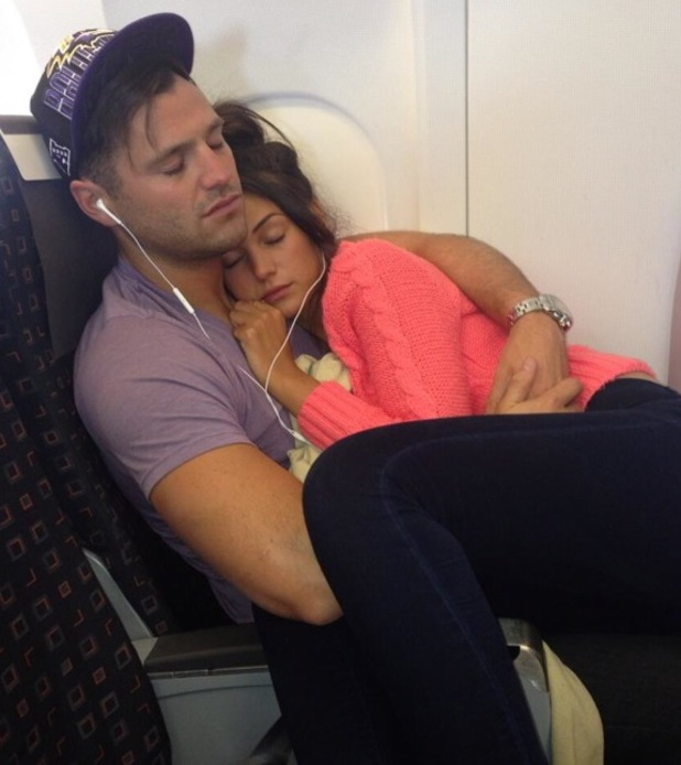Mark Wright and Michelle Keegan cuddle up together on a flight - 26 June 2013