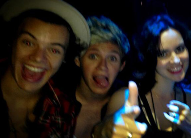 One Direction's Harry Styles, Niall Horan with Sally Wood at The Rolling Stones gig
