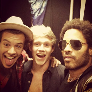 One Direction's Niall Horan, Harry Styles and Lenny Kravitz backstage at The Rolling Stones concert