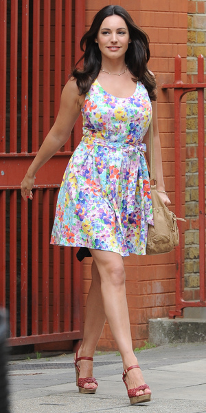 Kelly Brook seen on the film set of her upcoming movie 'Taking Stock' in London