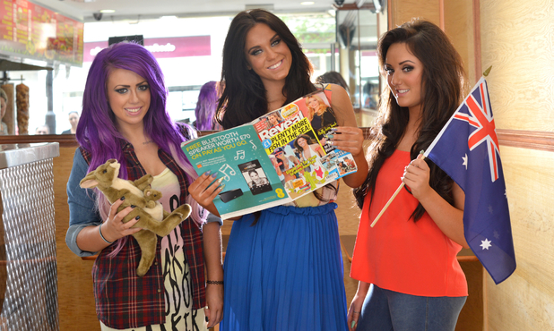 Geordie Shore's Holly Hagan, Charlotte Crosby, Vicky Pattinson hold copy of Reveal - 3 July 2013