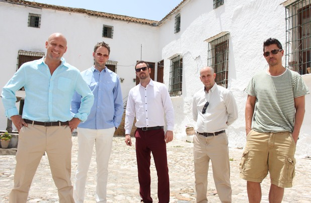 Hollyoaks Later:  Left to Right – Nick Pickard (Tony); James Redmond (Finn); Danny Dyer (The White Man); John Pickard (Dom); Jeremy Edwards (Kurt). 1 July 2013