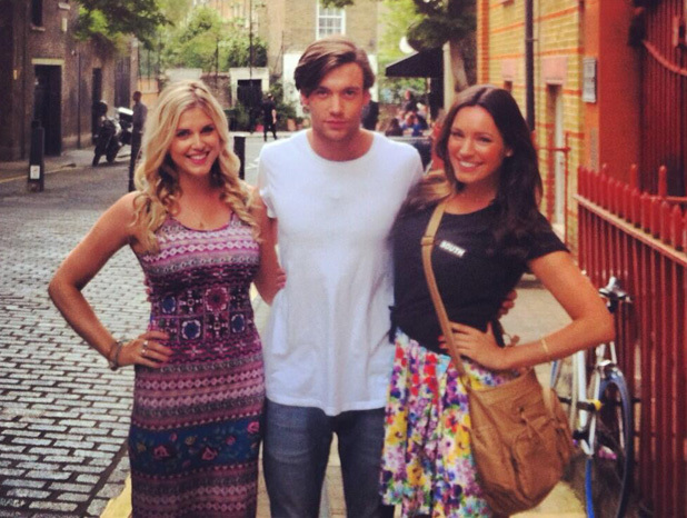 Made In Chelsea's Ashley James and Kelly Brook filming for Taking Stock