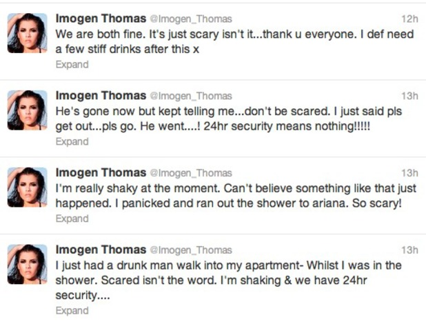 Imogen Thomas is left shaken after 'drunk man' enters her apartment while she showers, July 5 2013
