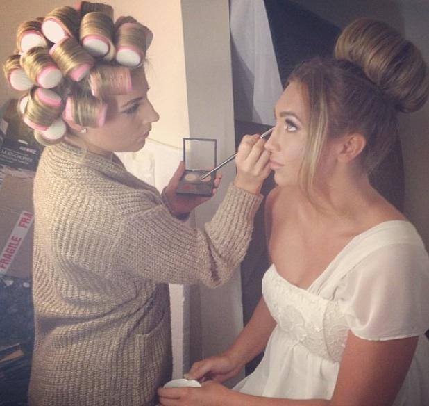 Lauren Goodger behind-the-scenes of Lauren's Way photo shoot, make-up artist Olivia Sandy, 2 July 2013