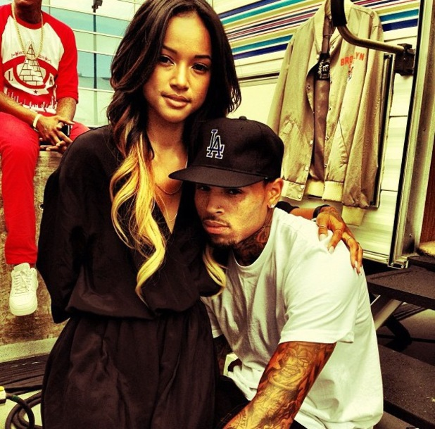 Karrueche Tran and Chris Brown pictured before the BET Awards - 30 June 2013