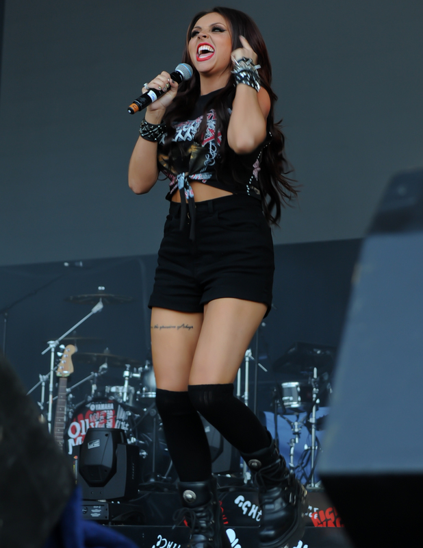 Jesy Nelson performs with Little Mix at Alton Towers Live 2013