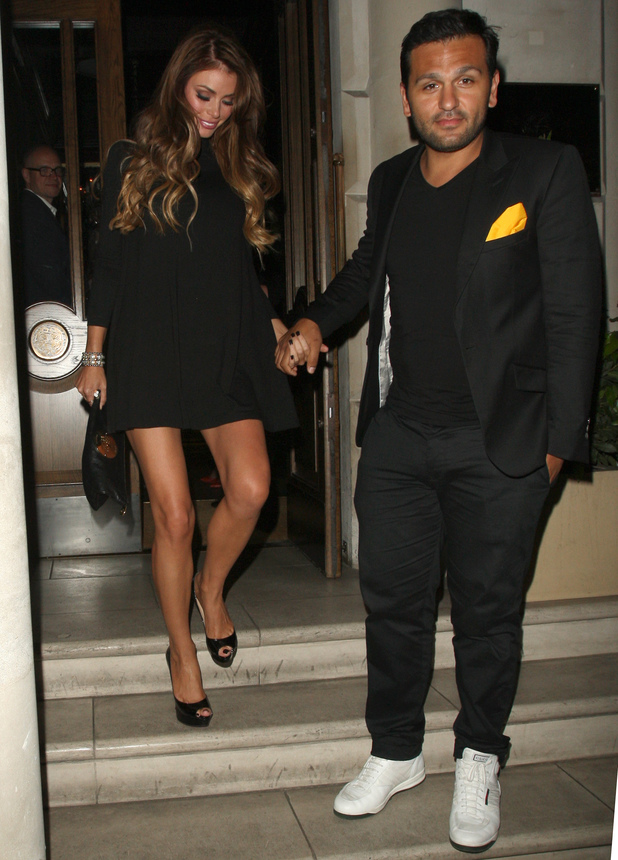 Chloe Sims leaving Cova with her boyfriend, and showing everyone how not to get into a mercedes sports car. 4 July 2013