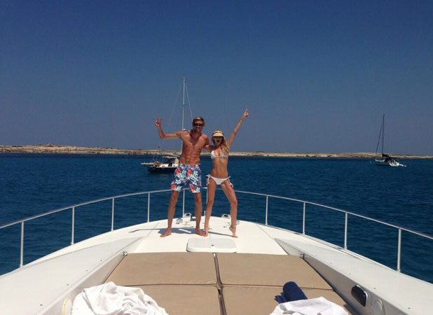 Abbey Clancy and Peter Crouch celebrate their two-year anniversary, 1 July 2013